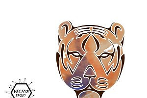 Cartoon illustration tiger head