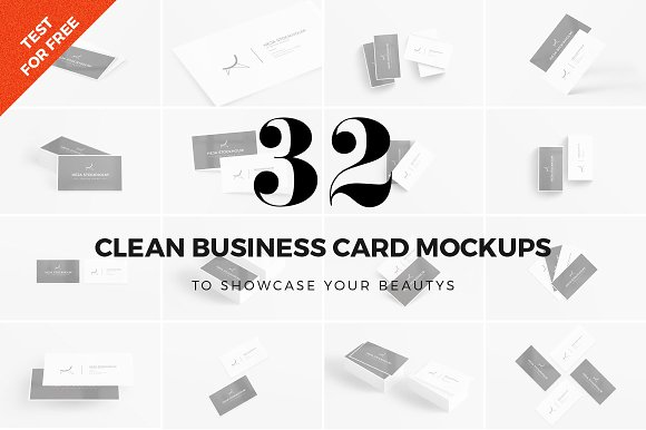 Download 32 Clean Business Card Mockups