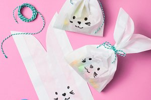 Bunny Bags with Chocolate Eggs