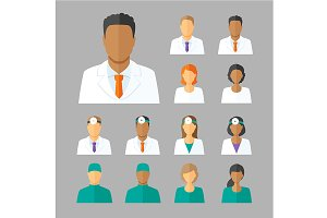 Vector avatars of doctors for medica