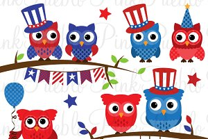 Fourth of July Owl Clipart & Vectors