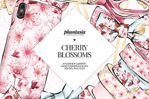 Cherry Blossoms Planner Cliparts