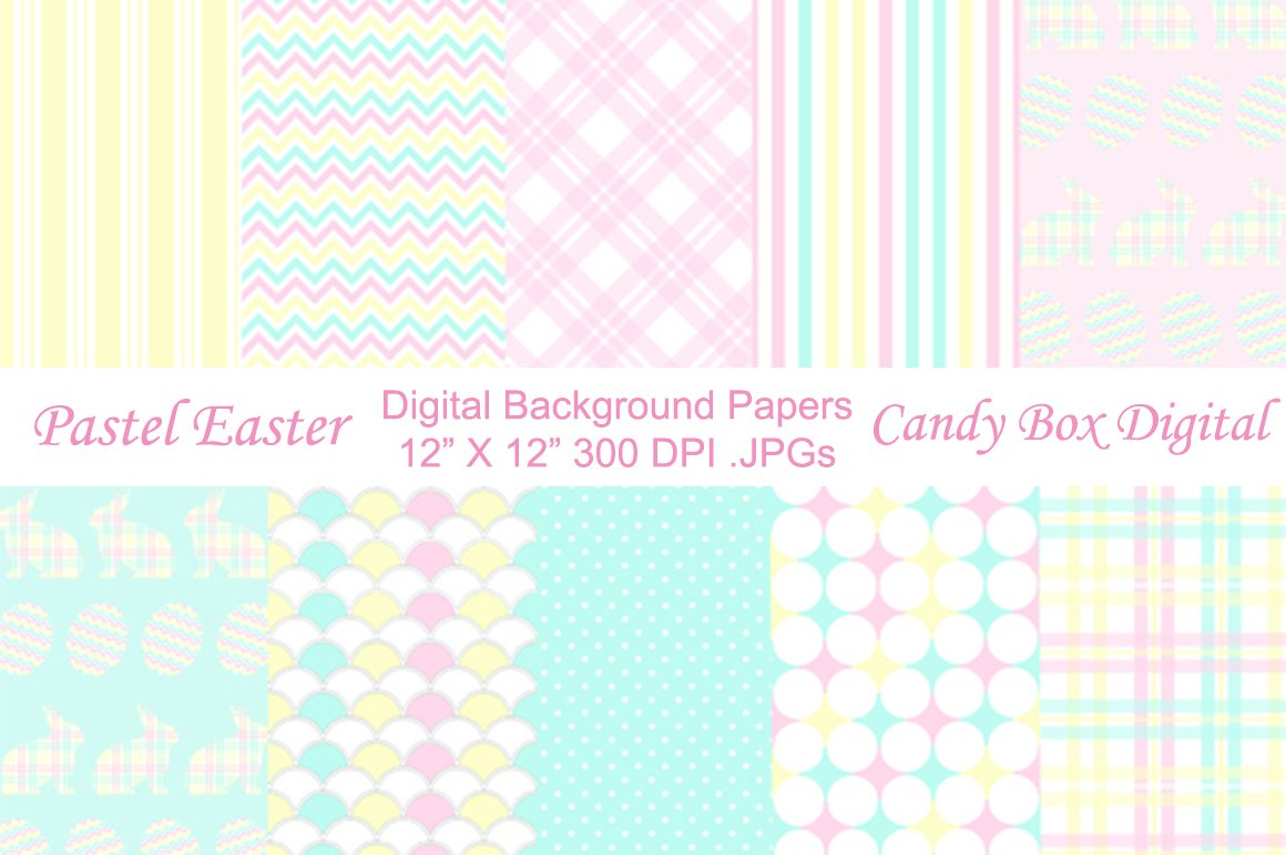 Pastel Easter Background Papers Graphic Patterns Creative Market