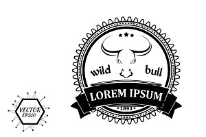 label with the silhouette of a bull