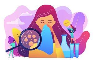 Allergic diseases concept vector