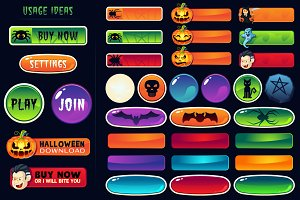 Halloween buttons for web and games