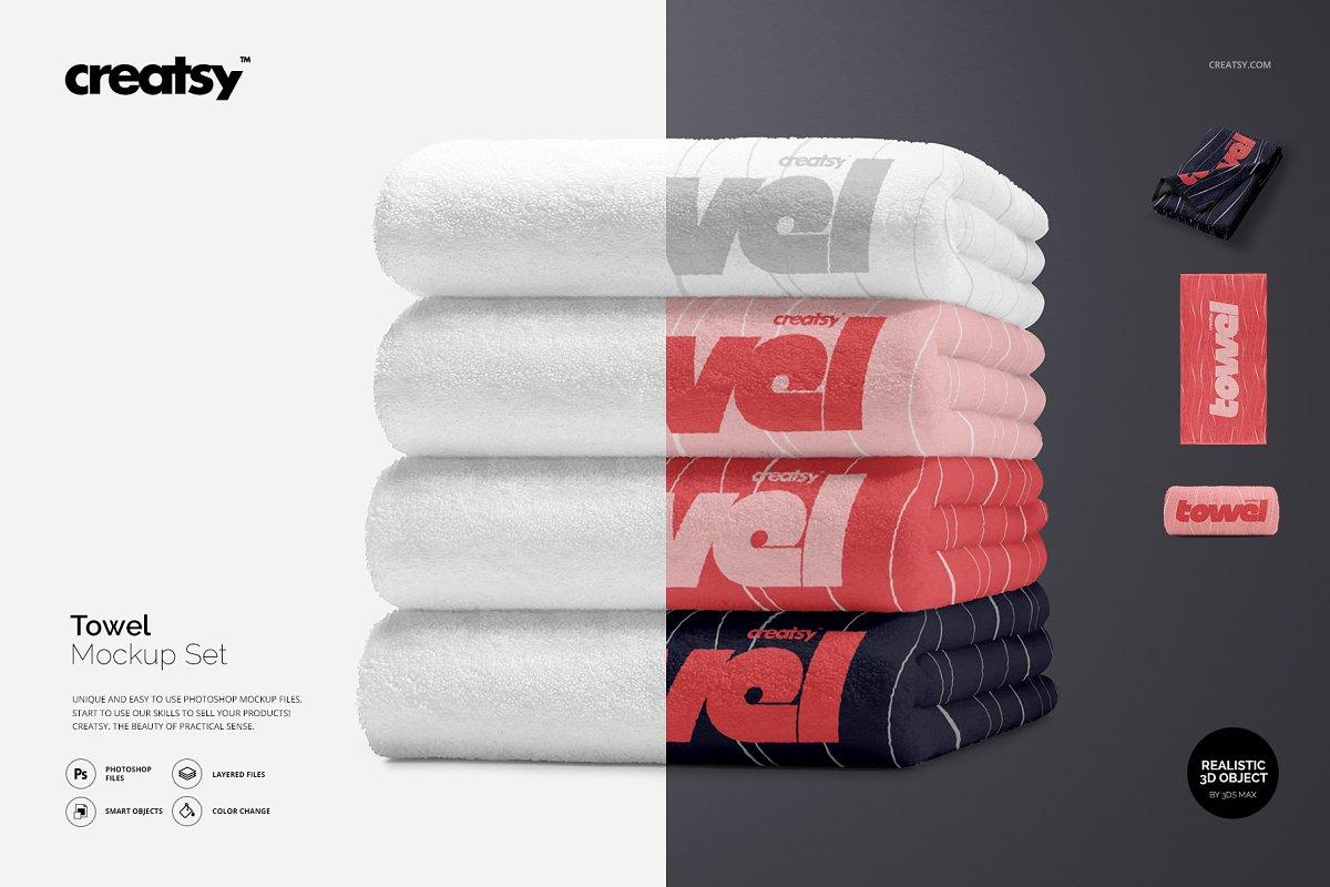 4aae3f0c021af Towel Mockup Set ~ Product Mockups ~ Creative Market