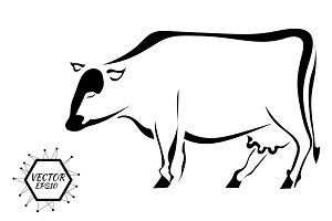 Black graphic silhouette of a cow