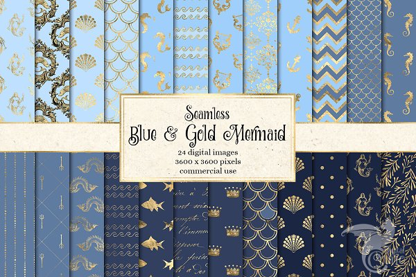 Blue and Gold Mermaid Digital Paper