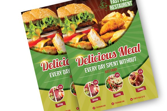 food restaurant flyer template flyer templates creative market
