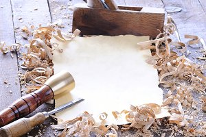 Carpenter tools with blank parchment