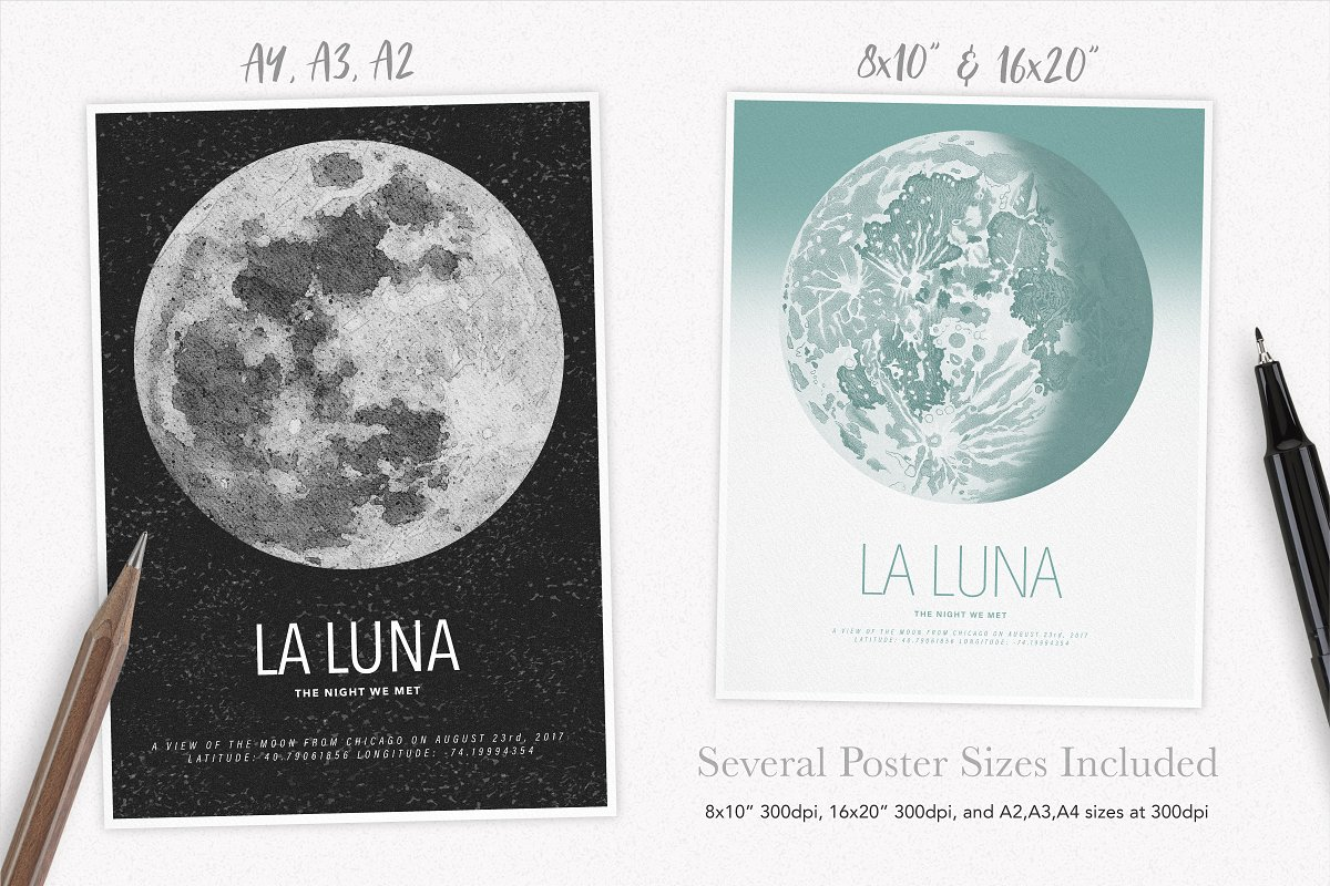 Lunar Phase Poster Creator ~ Photoshop Add-Ons ~ Creative Market on