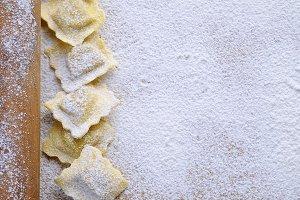 Preparing fresh ravioli..