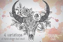 Hand-drawn skull of bull