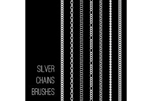 Silver chains set isolated on black