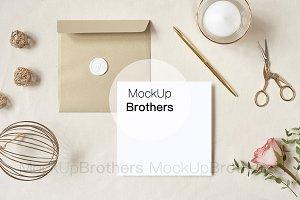 Square invitation card mockup mock
