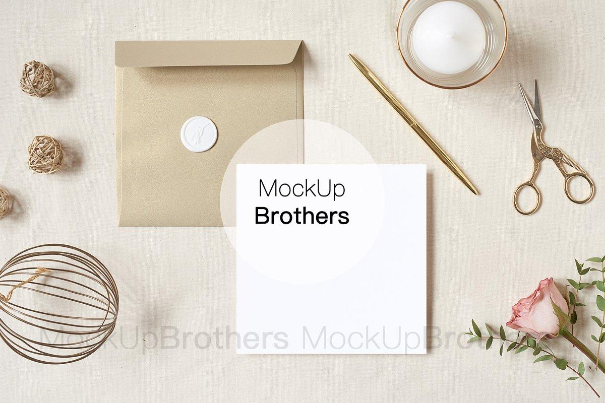 Square Invitation Card Mockup Mock Print Mockups