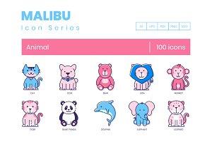 100 Animal Icons | Malibu Series