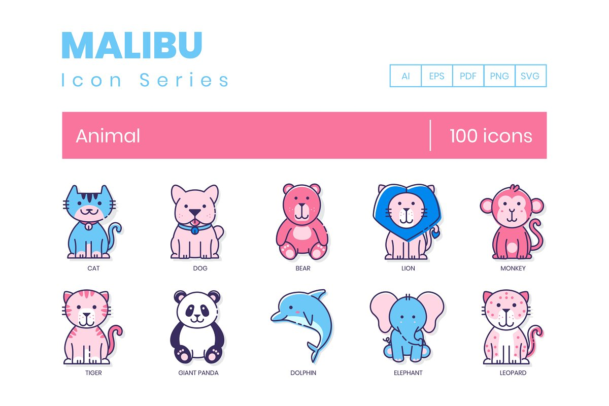 100 Animal Icons | Malibu Series