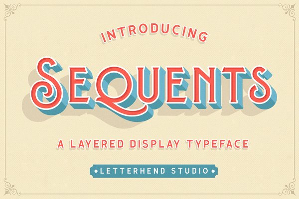 Display Fonts - Sequents - Layered Font (+ORNAMENT)