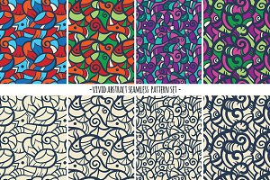 Vivid abstract doodle pattern set