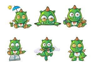 Illustration Of Cute Dragon Set