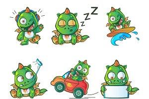 Cartoon Illustration Of Dragon Set