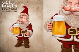 Santa Claus drinking beer