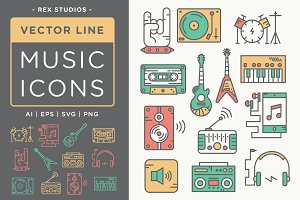 Vector Line Music Icons