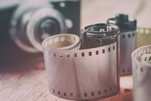 Photo film rolls and retro camera