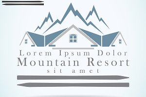 Mountain resort logo template