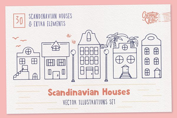 Illustrations: Creative Veila - Scandinavian Houses Vector Images