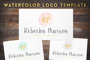Watercolor & Gold Foil Logo Template