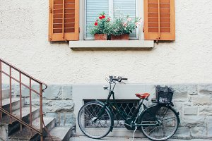Vintage bike on the front house