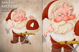 Santa Claus with flat iron