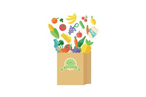 Fresh food and drink in paper bag