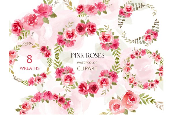 Watercolor Wreath Clipart Pink Roses