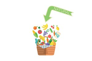 Natural food and drink in basket