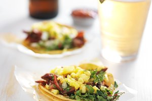 street tacos with pineapple and beer