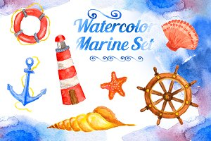 Watercolor Marine Set