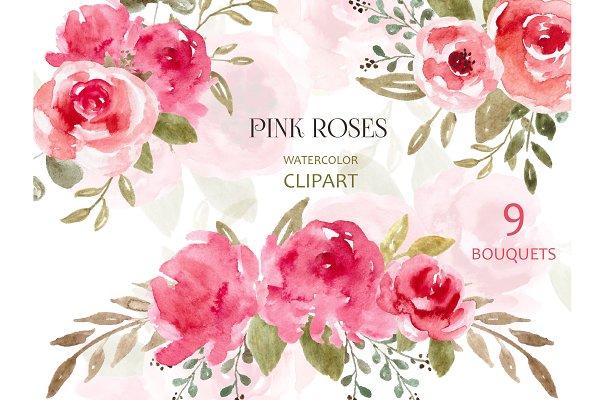 Watercolor Flowers, Clipart, Png Art