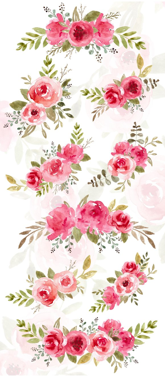 Watercolor Flowers, Clipart, Png Art in Objects - product preview 1
