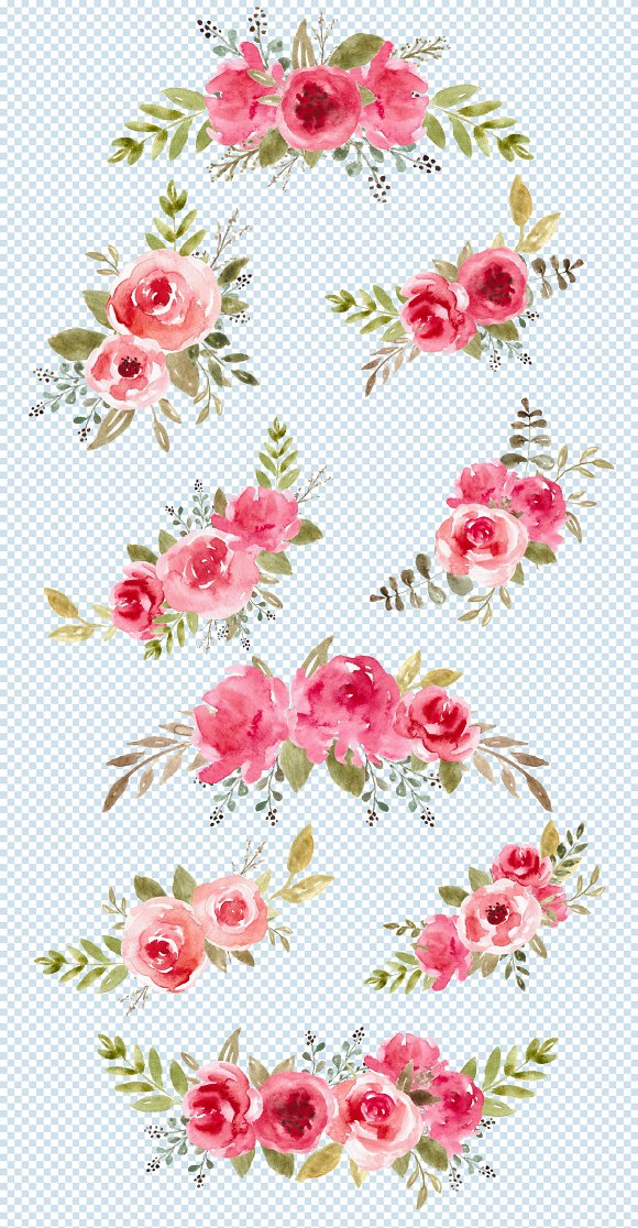Watercolor Flowers, Clipart, Png Art in Objects - product preview 2