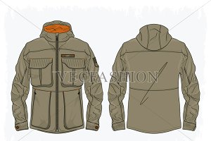 Men Mud Green Army Field Jacket