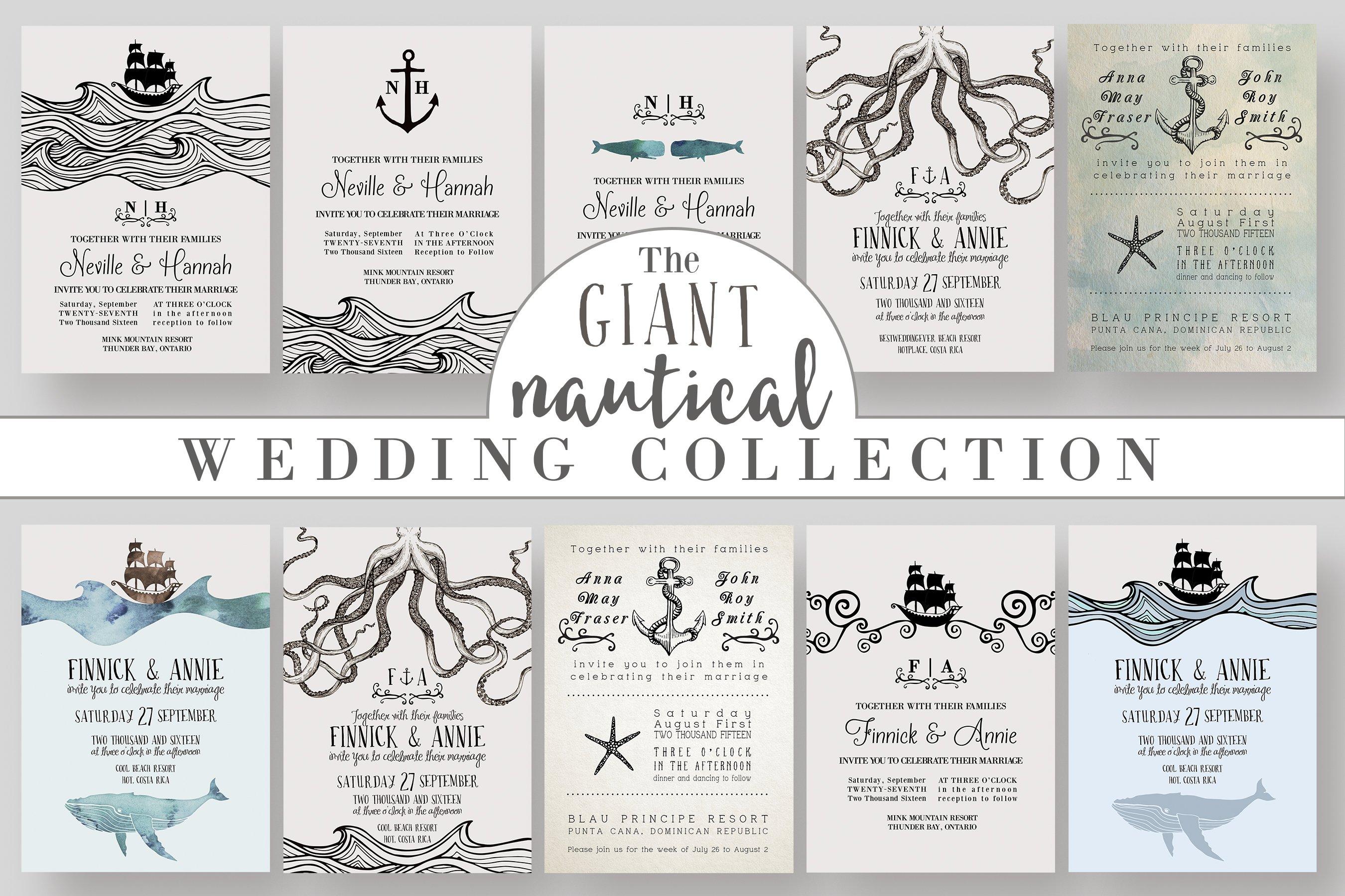 GIANT Nautical Wedding Collection ~ Invitation Templates ~ Creative ...