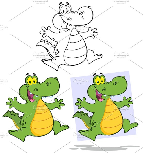 Crocodile Character . Collection Set - Illustrations