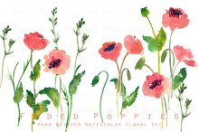 Faded Poppies-Watercolor Clip Art