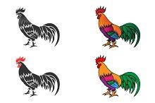 Cock silhouette. Set 1