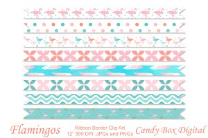 Flamingo Ribbon Borders