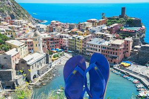 Blue flip flops at Cinque Terre, IT